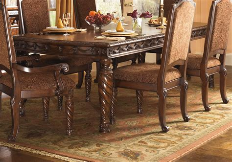 north shore leg dining table   upholstered side chairs