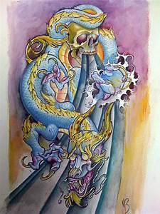 dragon and skull sleeve by michaelbrito on DeviantArt