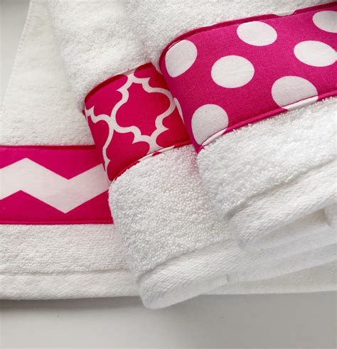 pink towels hand towel chevron hot pink bathroom decor