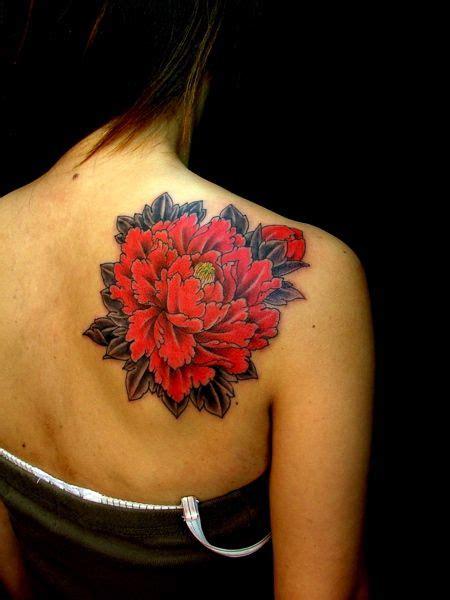 shoulder red carnation flower tattoo