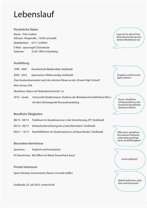 Lebenslauf Schüler by 15 Bewerbung Sch 252 Lerpraktikum Muster Openinsightpdx