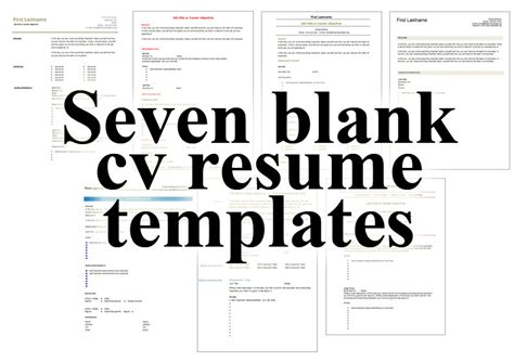 Where To Get Free Resume Templates by 7 Free Blank Cv Resume Templates For Get A Free Cv