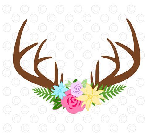Floral Antler svg cut file, Antler flower SVG cut file, silhouette, cricut, antler decal, vinyl