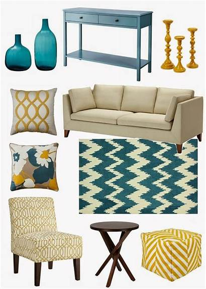 Teal Yellow Living Decorating Decor Sofa Couch