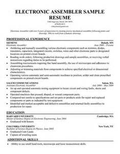 electronics repair resume exles electronic assembler resume best sle resume