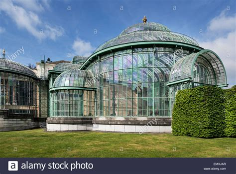 palace greenhouse royal greenhouses of laeken in art nouveau style designed by stock photo royalty free image