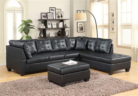 Black Leather Like Sectiona  Sectional Sofa Sets