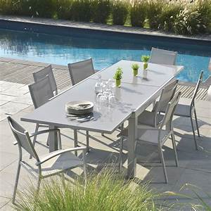 Table Chaise Exterieur : table extensible rectangulaire memphis tables de jardin tables chaises bancs mobilier ~ Teatrodelosmanantiales.com Idées de Décoration