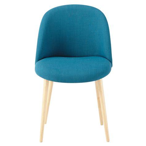 chaise bleu canard chaise vintage en tissu et bouleau massif bleu pétrole