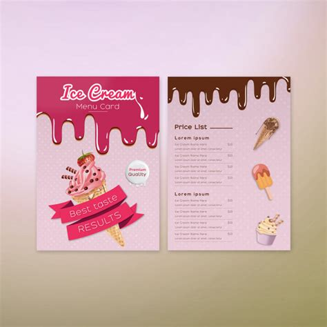 It can be used at atms, merchant outlets and online stores in india. Ice cream menu card design Vector   Premium Download