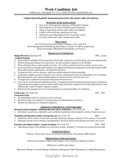 Create Hotel Management Skills Resume Resume Sample For Hotel Job | Danaya.Us - Gfortran