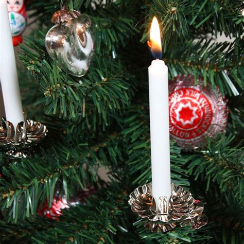 classic christmas tree candle clip ons  silver  gold