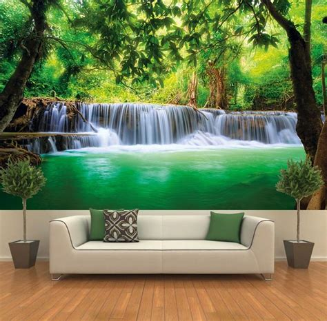si鑒e mural paradise photo wall paper waterfall in the jungle jungle river kanchanaburi si sawa mural wall decoration amazon com