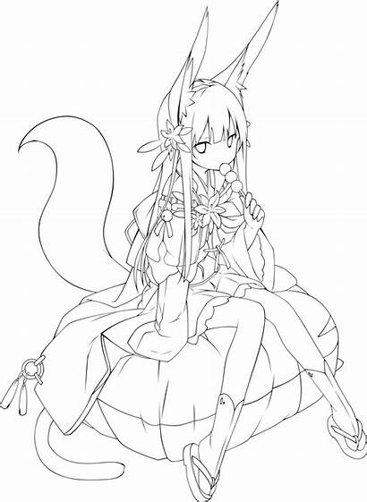 Anime Fox Outlines Outline Drawing Poko Template