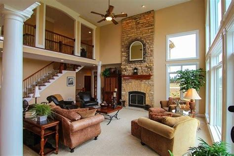 gorgeous great rooms love   story stone fireplace