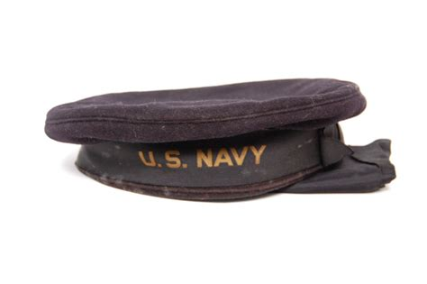 Antique Wwii Era Us Navy Sailor's Cap Wool Hat / Cover And