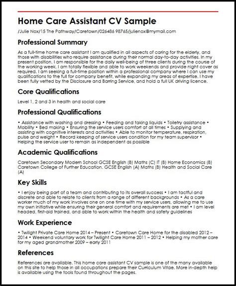 Health Care Assistant Curriculum Vitae by Home Care Assistant Myperfectcv