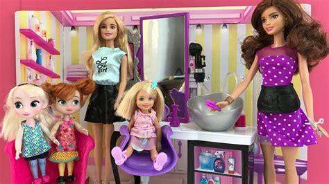 Hair Salon! Elsa Anna & Barbie Visit The Hair Dresser