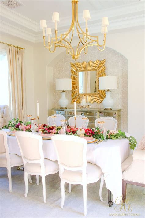 elegant pink  gold thanksgiving table dining room