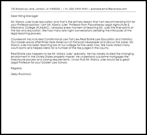 professor recommendation letter  letter samples