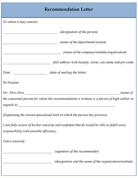 letter template  recommendation format