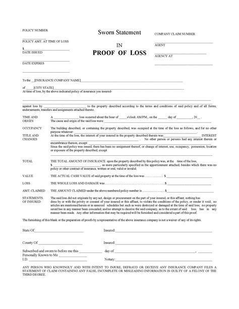 proof of insurance templates taking a look at a common proof of loss form property insurance coverage merlin