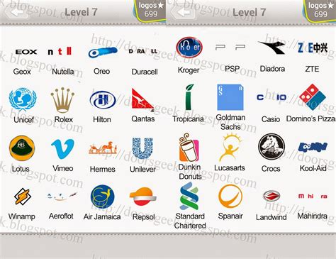 Logo Quiz Level 7 Answers By Bubble Quiz Games Answers
