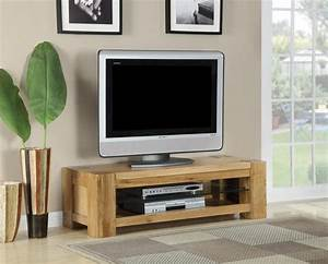Suffolk Oak Living Room Furniture Glass Shelf TV Unit