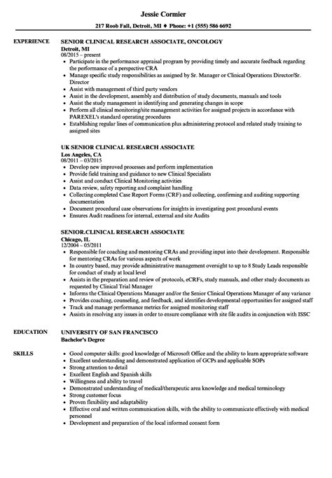 Research Associate Resume by Senior Clinical Research Associate Resume Sles