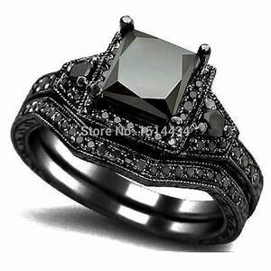 aliexpresscom buy size 5 11 black rhodium princess cut With black ring wedding