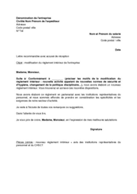 exemple gratuit de lettre avisant salari 233 s modification r 232 glement int 233 rieur