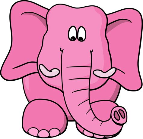 Pink Cartoon Elephants Clip Art