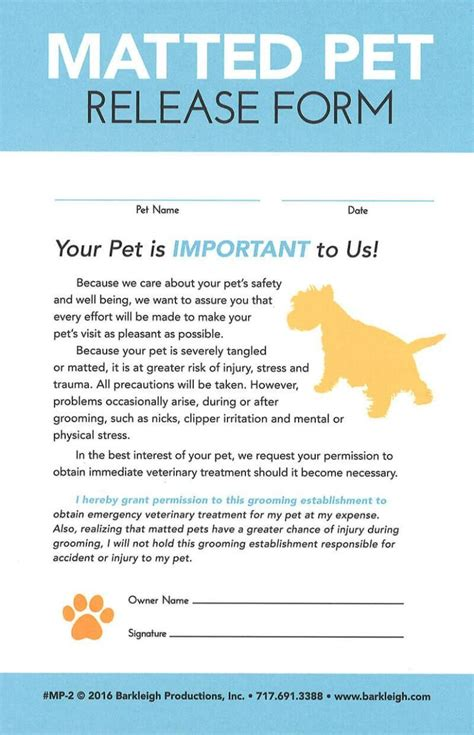 dog grooming consent form modern matted pet release form dog grooming