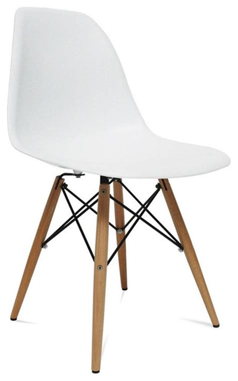 mid century modern wood leg side chair white