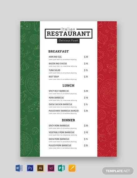 italian menu template word psd indesign apple