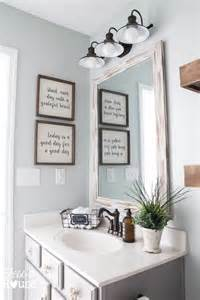 bathroom vanity mirror and light ideas modern farmhouse bathroom makeover reveal