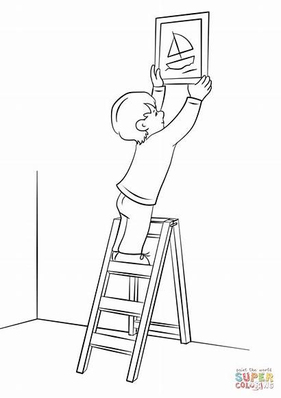 Coloring Ladder Wall Boy Hanging Clipart Pages
