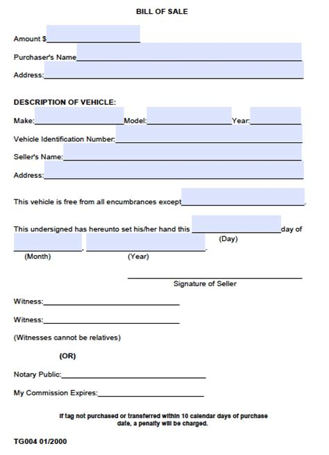 Boat Bill Of Sale With Witness by Free County Alabama Bill Of Sale Form Pdf