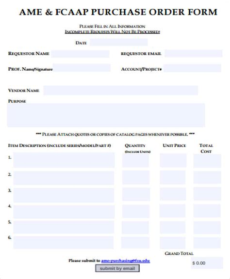sample blank order form  examples  word