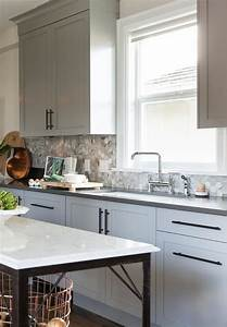 gray kitchen cabinets with bronze pulls transitional With what kind of paint to use on kitchen cabinets for metal wall art canada