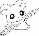 Coloring Hamtaro Pencil Pages Printable Animals sketch template