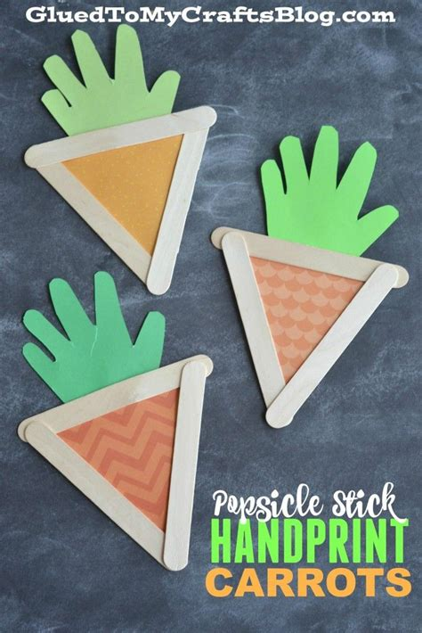 popsicle stick handprint carrots kid craft glued to my 198 | b630e97294ce5b15b8e6a7bb3f84848a