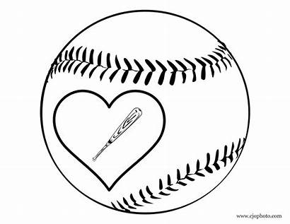 Baseball Coloring Heart Printable