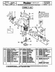 Poulan 2050 Wt Chainsaw Parts List  2004