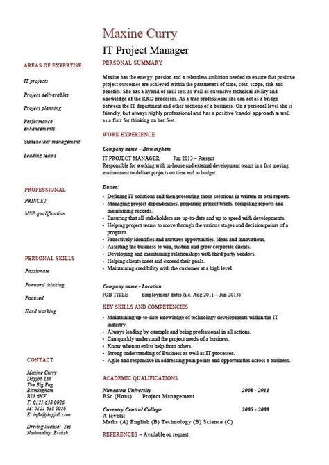Erp Implementation Resume by It Project Manager Cv Template Project Management Prince2 Cv Exle Resume Erp