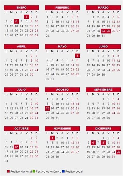 calendario laboral de  fiestas  puentes cuando