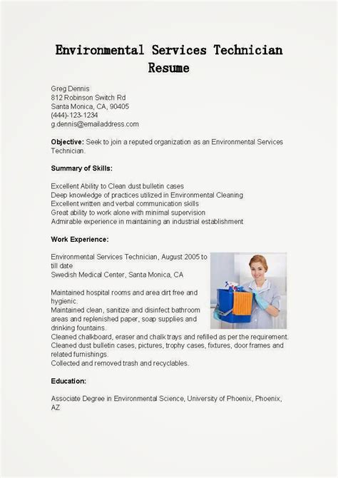 resume sles environmental services technician resume