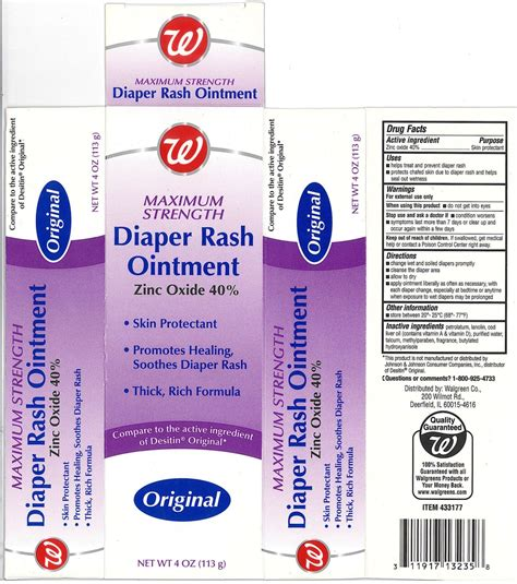 Dailymed Walgreen Maximum Strength Diaper Rash Zinc