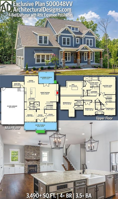 plan vv  bed craftsman  attic expansion possibilities   craftsman house
