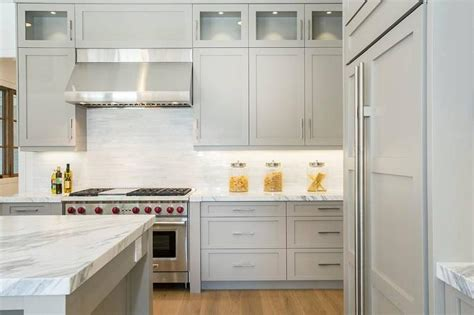 light gray cabinets contemporary kitchen markay